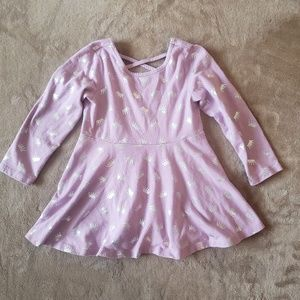 Girls Pale Purple & Silver Crown Pattern Flare Top